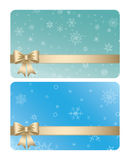 Blue and green vector gift cards with ribbons for christmas Stock Photos