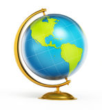 Blue and green globe isolated on white background. 3D illustration Royalty Free Stock Photography