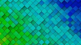 Blue green gradient of rhombs 3D render Stock Photo