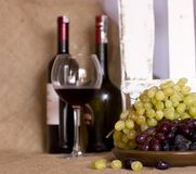 Blue and green grapes on a clay brown dish. Bottle with red and Stock Photos