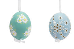 Blue and green hanging hand painted easter eggs Stock Photos