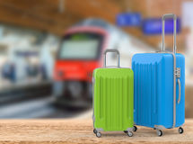 Blue and green hard case luggages Royalty Free Stock Photos