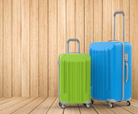 Blue and green hard case luggages Royalty Free Stock Images