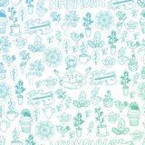 Blue and Green Harmony Seamless Pattern. Blue and green gradient illustrations of yoga things Stock Photography