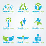 Blue and green Healthy logo vector set design Stock Image