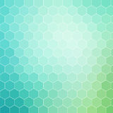 Blue green hexagon pattern background with white outline Stock Images