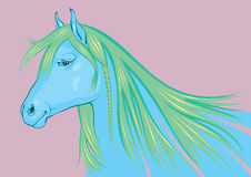 Blue-green Horse, the symbol of 2014 New Year Stock Photos
