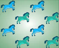 Blue and Green Horses Vector Background Pattern Stock Photos