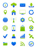 Blue-green Internet icons set Stock Photography