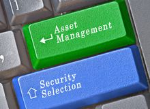Keys for portfolio management. Blue and green keys for portfolio management royalty free stock photo