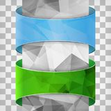 Blue and green labels with triangle column on the squared backgr Stock Images