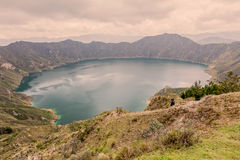 Blue-Green Lake In Quilotoa Volcano, South America Royalty Free Stock Photos