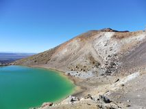 New zealand tongariro crossing national park emerald lakes volcano. Blue green lakes geochemical with volcanic rocks and a sunny day to hike. 19 km hiking in stock image