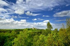 Castle ruins at lowland. View on the castle ruins, forest and blue sky with clouds royalty free stock images
