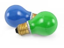 Blue green light bulbs Stock Image
