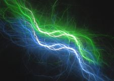Blue and green lightning abstract. Plasma fractal background Stock Images