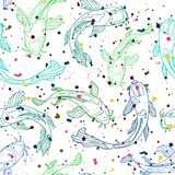 Blue and green line art Koi fish silhouettes covered with multicolored splatter texture. Seamless vector pattern royalty free illustration