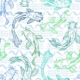 Blue and green line art Koi fish silhouettes with hand drawn wavy brush stroke texture in the background. Seamless vector pattern. Great for fabric, home decor stock illustration