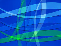 Blue and Green lines curving on Blue Background Stock Photography