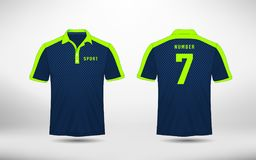 Blue and green lines layout football sport t-shirt, kits, jersey, shirt  design template. Illustration vector Stock Photos