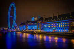 Blue-green London Eye Stock Images