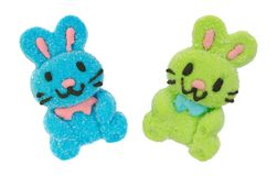 Blue and green marshmallow candy Easter bunny Royalty Free Stock Photography