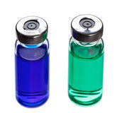 Blue and green medical ampoules Royalty Free Stock Images