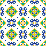 Blue and green mediterranean seamless tile pattern. Stock Image