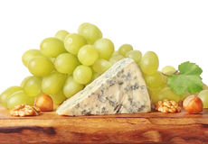 Blue green mold cheese on wooden board Royalty Free Stock Photo