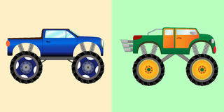 Blue and green monster trucks stock illustration