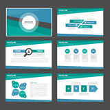 Blue and green multipurpose infographic presentation Brochure flyer leaflet website template flat design Royalty Free Stock Image