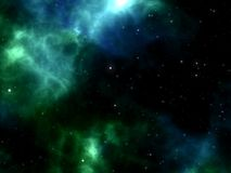 Blue and green Nebula with stars shining through space in cosmos Royalty Free Stock Image