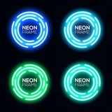 Blue and green neon light circles set. Neon light circles set. Shining round techno frames collection. Night club electric 3d banners on dark backdrop. Blue and Stock Photography