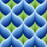 Blue and green ornamental seamless pattern. Ornamental seamless vector pattern like a pseudo 3D image in blue and green hues Royalty Free Stock Image