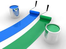 Blue and green paint Stock Images