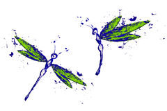 Blue green paint made dragonfly set Royalty Free Stock Photo