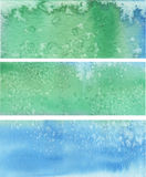 Blue green painted vector banners Royalty Free Stock Photography