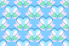 Blue, green and pink hearts pattern Stock Image