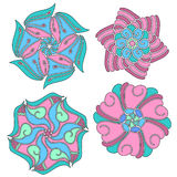 Blue,green and pink ornament collection. Over white background Royalty Free Stock Images
