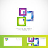 Blue green pink purple squares logo Royalty Free Stock Image