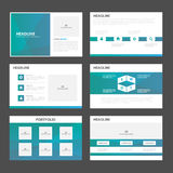 Blue green polygon presentation templates Infographic elements flat design set for brochure flyer leaflet marketing. Advertising Stock Photo
