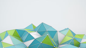 Blue and green polygonal shape 3D render Royalty Free Stock Image
