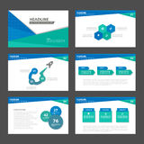 Blue Green presentation template Infographic elements flat design set for brochure flyer leaflet marketing Royalty Free Stock Images