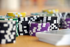 Blue Green and Purple Poker Chips Royalty Free Stock Photo