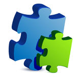 Blue and green puzzle pieces Stock Photo