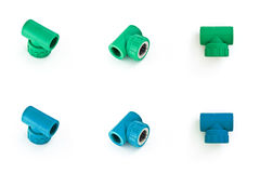 Blue and green PVC pipe fittings Stock Photography