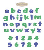 Blue and green quilt stitch alphabet Royalty Free Stock Photo