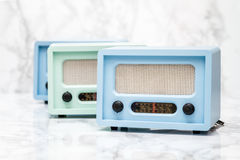 Blue and Green Radios with Retro Look Stock Images