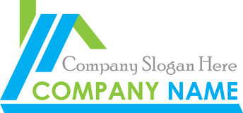 Blue Green Real Estate Logo House. Green Real Estate Logo House Template Stock Photography