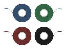 Blue, green, red, black insulation tape set. Blue, green, red, black insulation scotch tape set. Color clip art no outline vector illustration isolated on white Stock Image